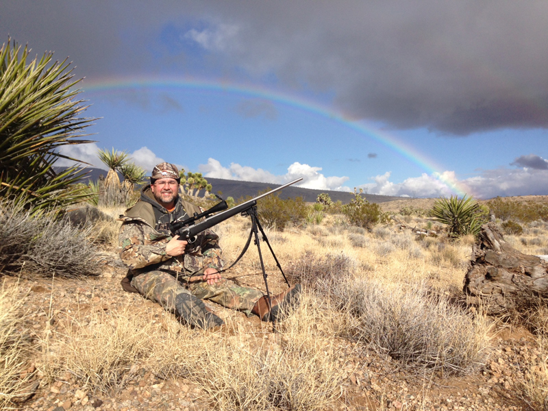 Bob was able to call the end of the rainbow in the desert.